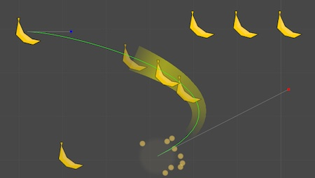A bezier curve defines the banana's motion.